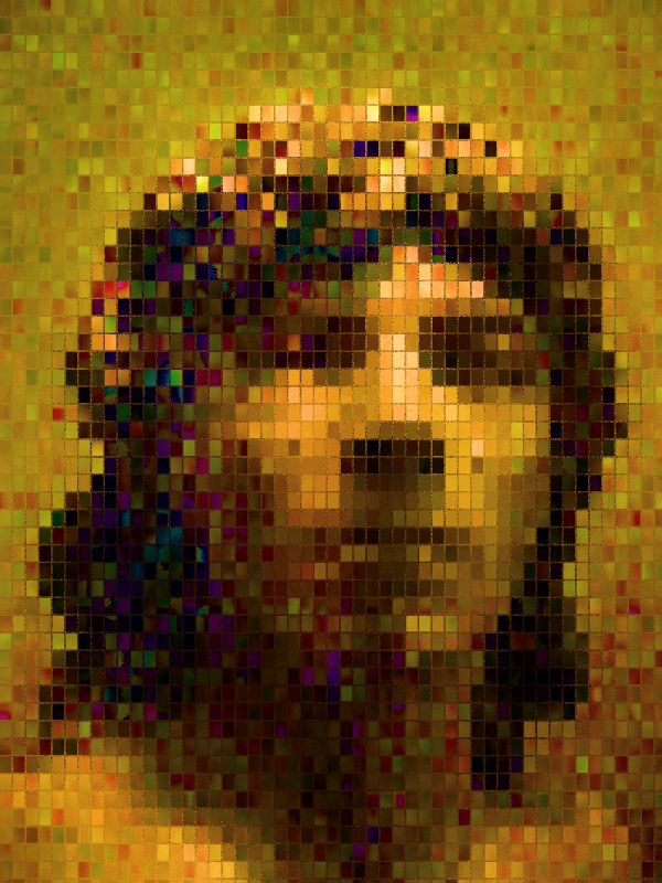 - Portrait in small mosaic tiles - by Tony Karp - Techno-Impressionist Museum - Techno-Impressionism